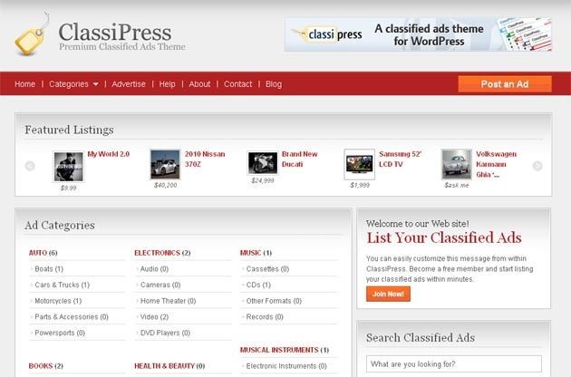Classipress wp theme free download