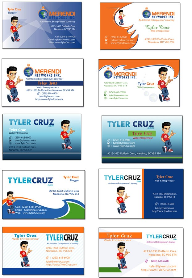 My blog business cards tylercruz an internet entrepreneurs i could have made better designs myself some of them honestly look like they were made by some 9 year old remember they had my mascot and text logo to colourmoves